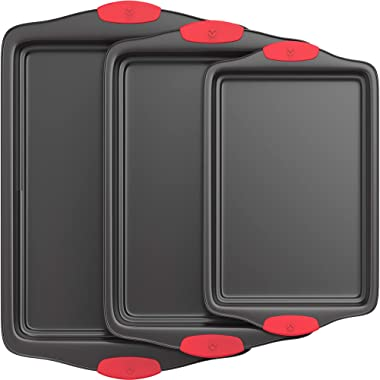 Vremi 3 Piece Nonstick Baking Sheets Set - Professional Non Stick Oven Tray Set for Baking - Non-Toxic Rimmed Carbon Steel Baking Pans Cookie Sheets with Wide BPA Free Red Silicone Handles