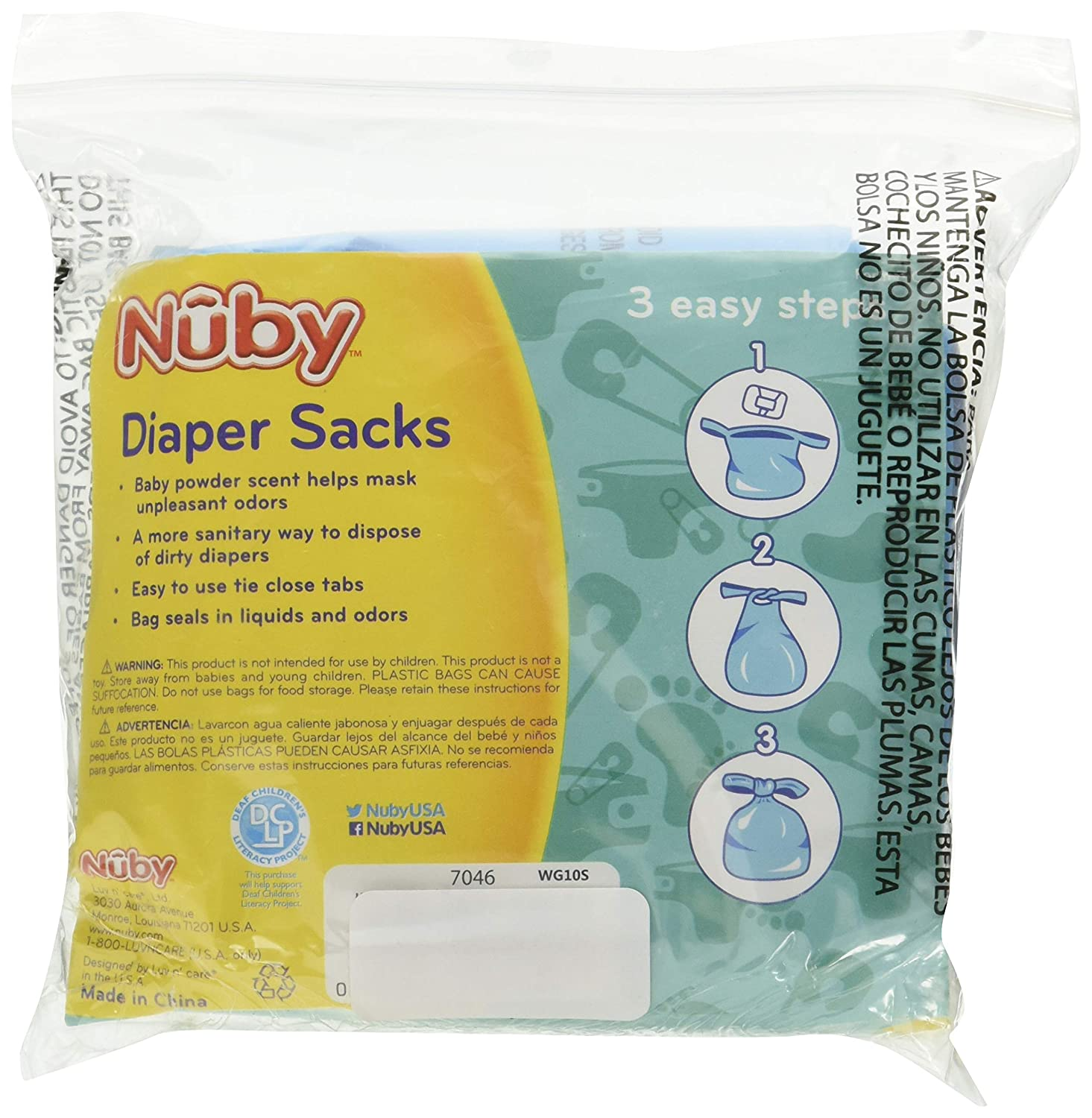 Nuby Diaper Bags, 300 Count (6 Packages)