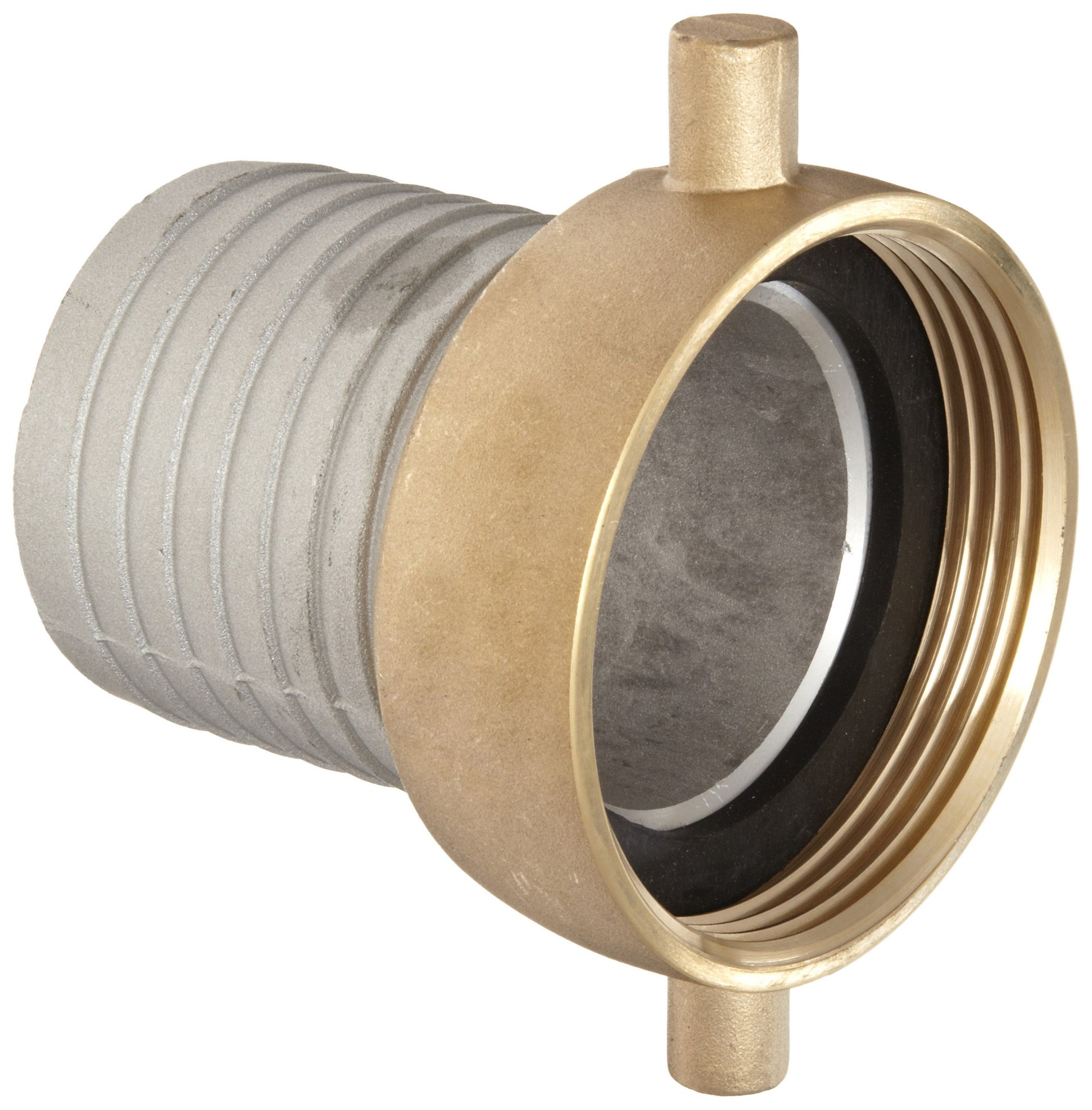 Dixon FAB250N Aluminum Hose Fitting, King Short Shank Suction Coupling with Brass Nut, 2-1/2'' NST Female x 2-1/2'' Hose ID Barbed