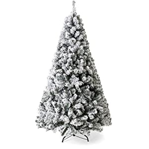 Best Choice Products 7.5ft Premium Snow Flocked Hinged Artificial Christmas Pine Tree Holiday Decor w/Metal Stand