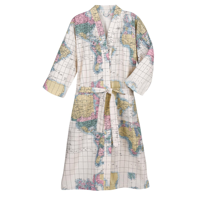 WHAT ON EARTH Women s World Map Kimono Style Bath Robe - 100% Cotton at  Amazon Women s Clothing store  bed47e721