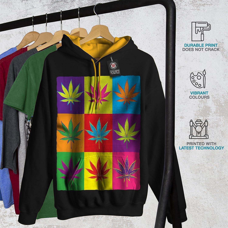 wellcoda Weed Cannabis Leaf Rasta Mens Contrast Hoodie Pop Hooded Jumper