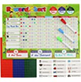 Magnetic Reward Chart Set, Includes: 20 Magnetic Chores, 210 Magnetic Stars & 4 Color Dry Erase Markers! Behavior Chart Board Magnetic Backing & Hanging loop for Wall, Rigid board Dry Erasable,16 x 12