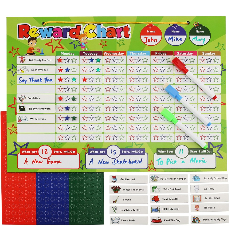 Magnetic Reward Chart Set, Includes: 20 Magnetic Chores, 240 Magnetic Stars & 4 Color Dry Erase Markers! Behavior Chart Board Magnetic Backing & Hanging loop for Wall, Rigid board Dry Erasable,16 x 12 DasKid