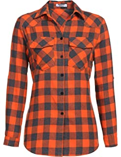 69616e4948d256 Zeagoo Womens Flannels Long/Roll Up Sleeve Plaid Shirts Cotton Check  Gingham Top S-