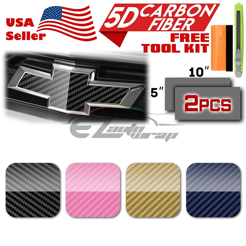 EZAUTOWRAP Free Tool Kit 2Pcs 5x10 Chevy Emblem Bowtie 5D High Gloss Blue Carbon Fiber Vinyl Wrap Sticker Decal Film Sheet