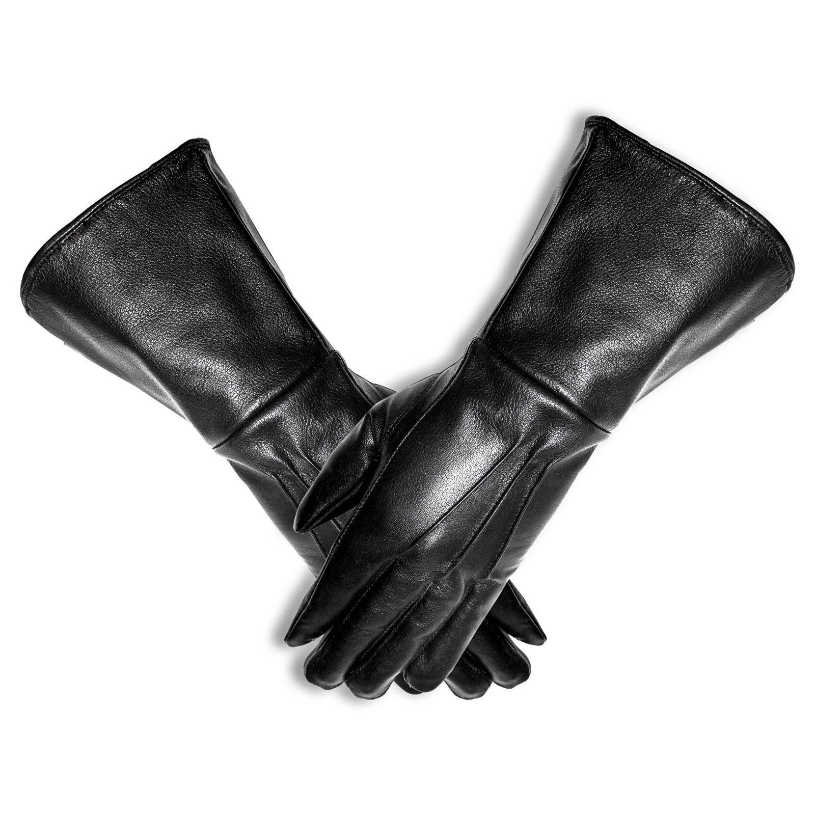 Mens Unlined Leather Gauntlet Motorcycle Gloves (Medium) by Gloves 007