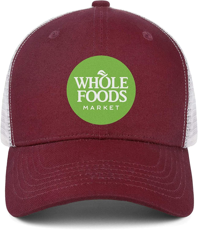 Cool Adjustable Outdoor Hat PZX1586 Mens Womens Mesh Baseball Cap Whole-Foods-Market-Logo
