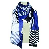 Jack & Missy Uptown Scarf Wrap, Blue/White/Black