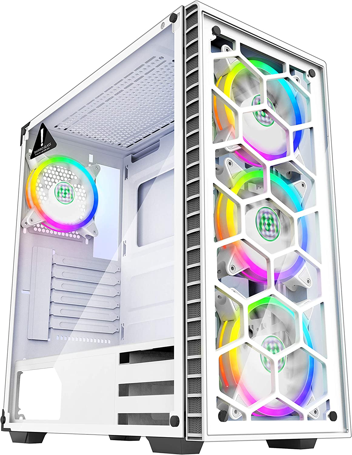 MUSETEX - ATX Mid-Tower PC Gaming Case - 4 PCS 120mm Fans Digital RGB Lighting - 2 Tempered Glass Panels USB 3.0 - White Frame - Computer Chassis Desktop Case(903S4W)