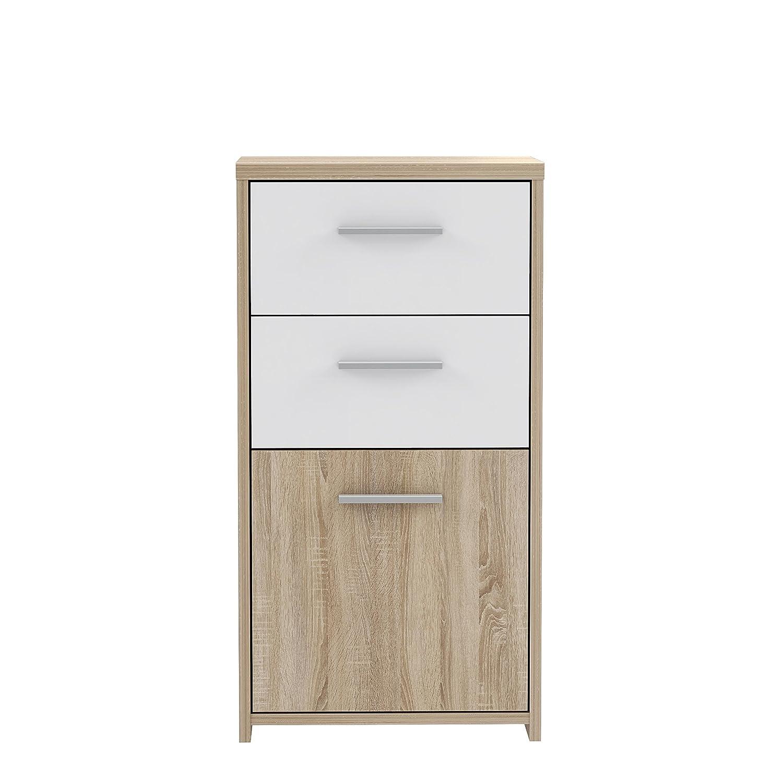 NEWFACE Preiswerte Kommode, Holz, Sonoma Eiche Dekor Kombiniert Mit Weiß, 40.3 x 29.6 x 77.5 cm