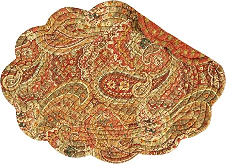 Amazon Com C F Home Tangiers Orange Paisley Oval 13 X 19 Quilted Reversible Cotton Reversible Cotton Placemat Set Of 6 Oval Placemat Set Of 6 Orange Home Kitchen