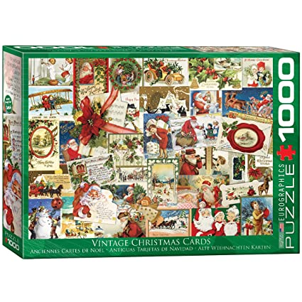 Vintage Christmas Card.Eurographics Vintage Christmas Cards Puzzle 1000 Piece