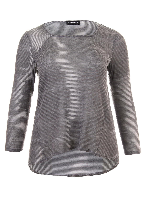 Langarmshirt mit Muster in grau in Übergrößen (42, 44, 46, 48, 50, 52) von Doris Streich
