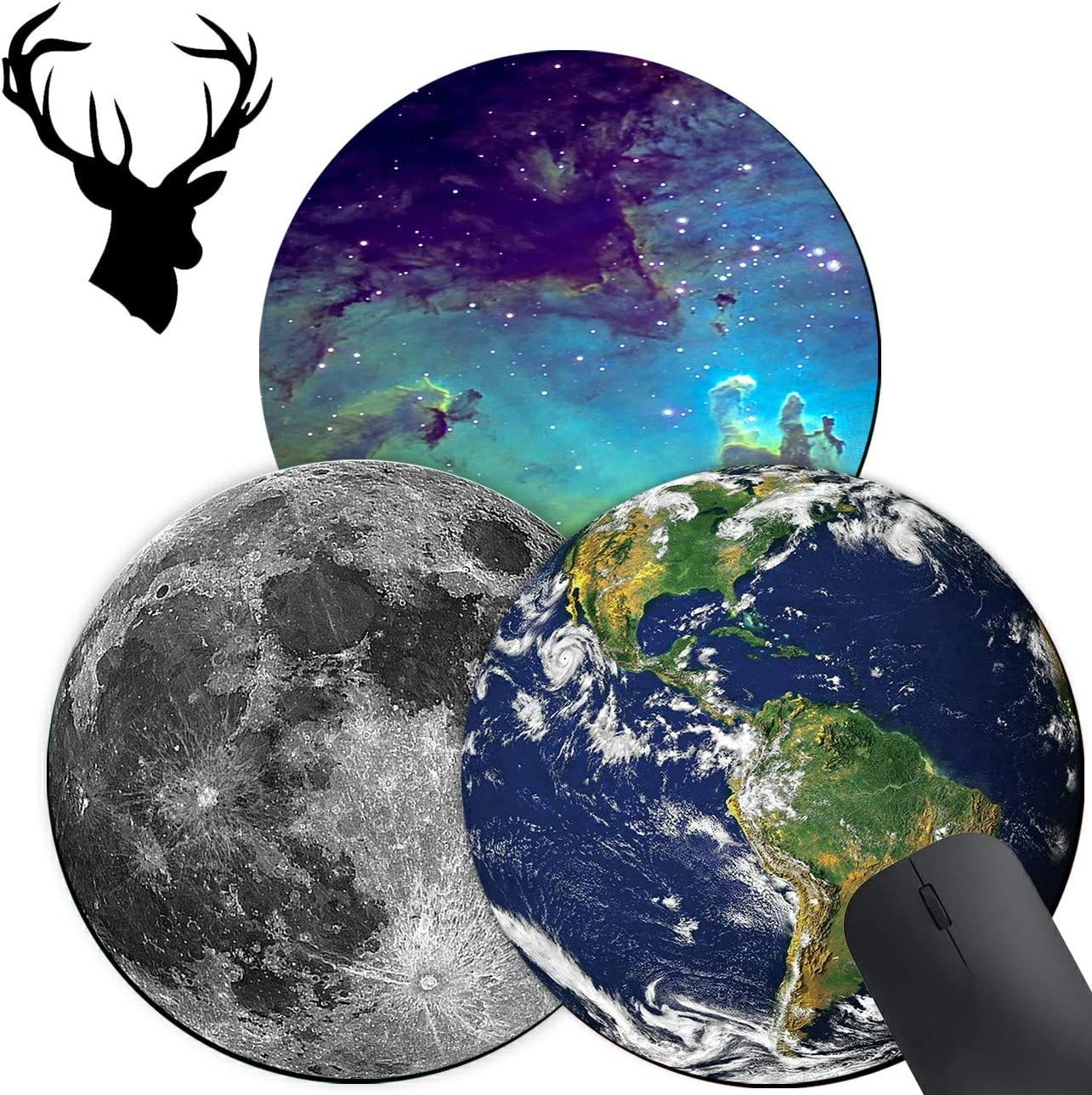 3 Pack Gaming Mouse Pad, Earth Galaxy Grey Moon Pattern Pattern Custom Design Mouse mat, Round Mouse Pads for to Laptop and Desktop Computer,Cute Mousepad with 2x2 inch Deer Head Stickers