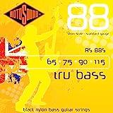 Rotosound Tru Bass Jeu de cordes pour basse Nylon noir Filet plat Diapason court Tirant standard (65 75 90 115)