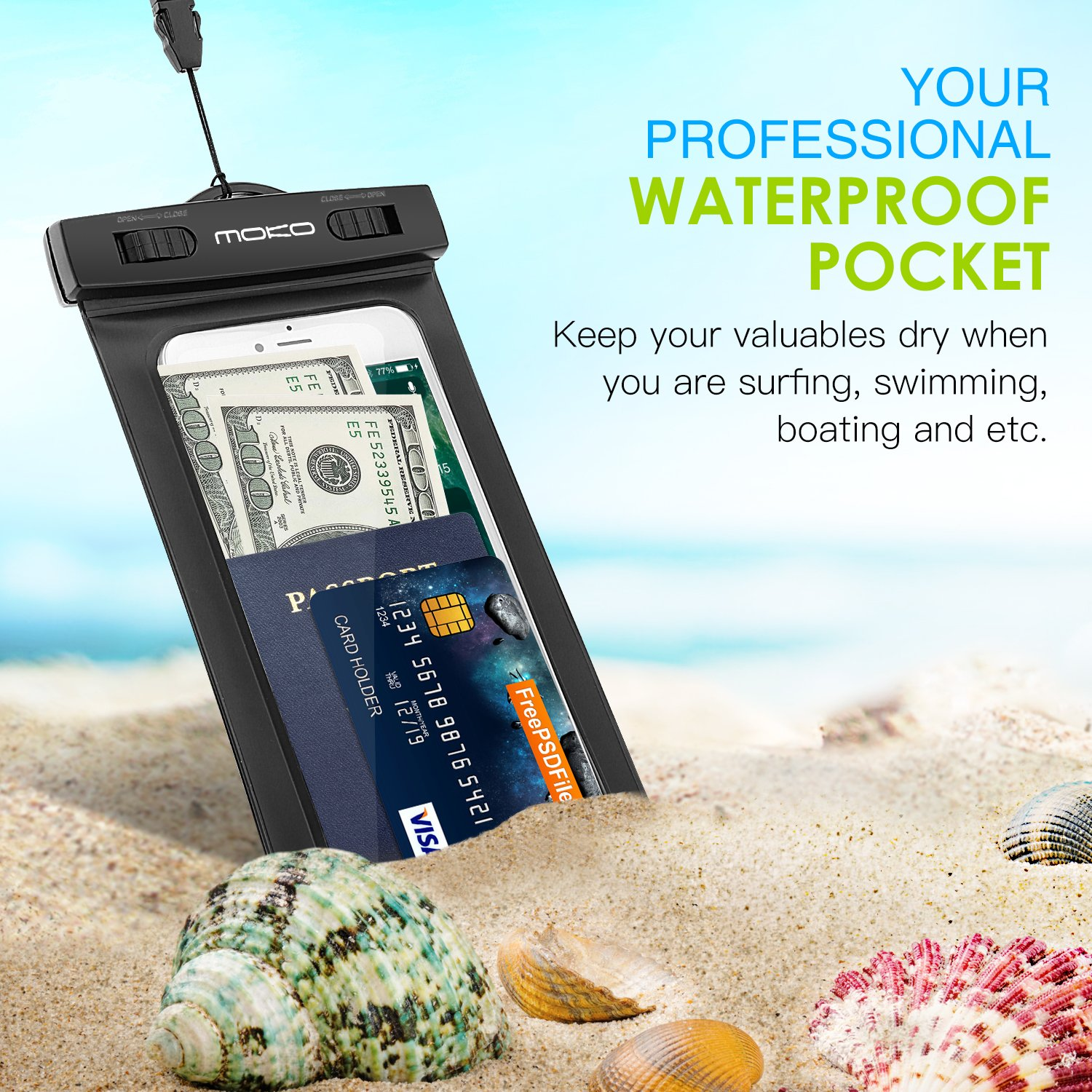 MoKo Waterproof Phone Pouch, Underwater Waterproof Cellphone Case Dry Bag with Lanyard Armband Compatible with iPhone X/Xs/Xr/Xs Max, 8/7/6s Plus, Samsung Galaxy S10/S9/S8 Plus, S10 e, S7 Edge, Black by MoKo (Image #6)