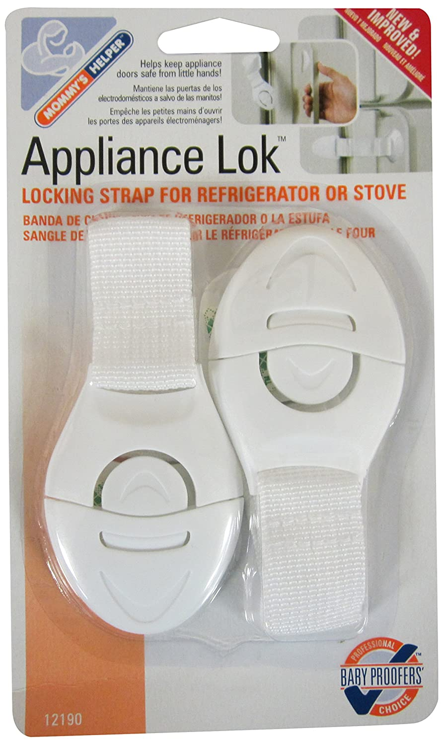 Mommy's Helper Applinace Lok Locking Strap for Refrigerator or Stove, White, 2-Pack Mommys Helper Inc 12190