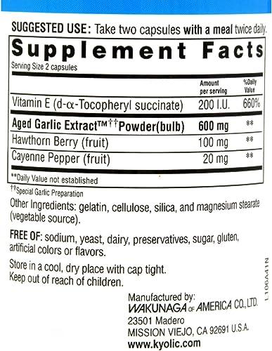 Kyolic Aged Garlic Extract Healthy Heart Formula 106 – 100 Capsules