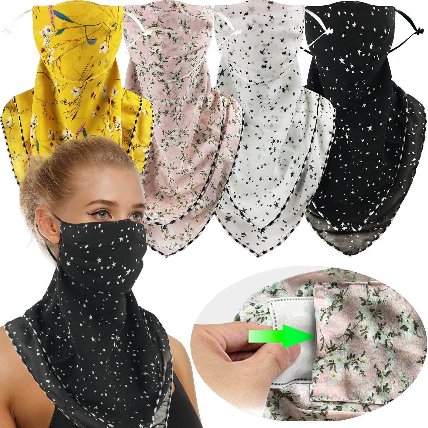 2 or 4 Pack Women Face Scarf Mask Reusable Face Cover Balaclava with Filter Pocket Chiffon Bandana Neck Gaiter -Ear Loops & Snap at  Women's Clothing store