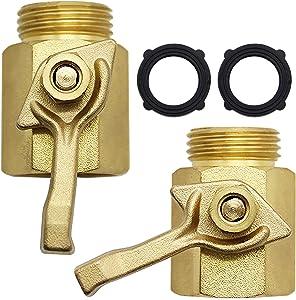 Lifynste Heavy Duty Brass Garden Hose Shut Off Valve, 3/4 Inch, 2 Sets