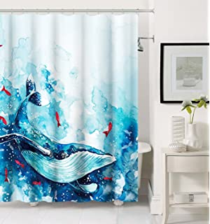 Get Orange Watercolor Ocean Whale Red Goldfish With Sea Wave Shower Curtain Waterproof Bathroom Liner