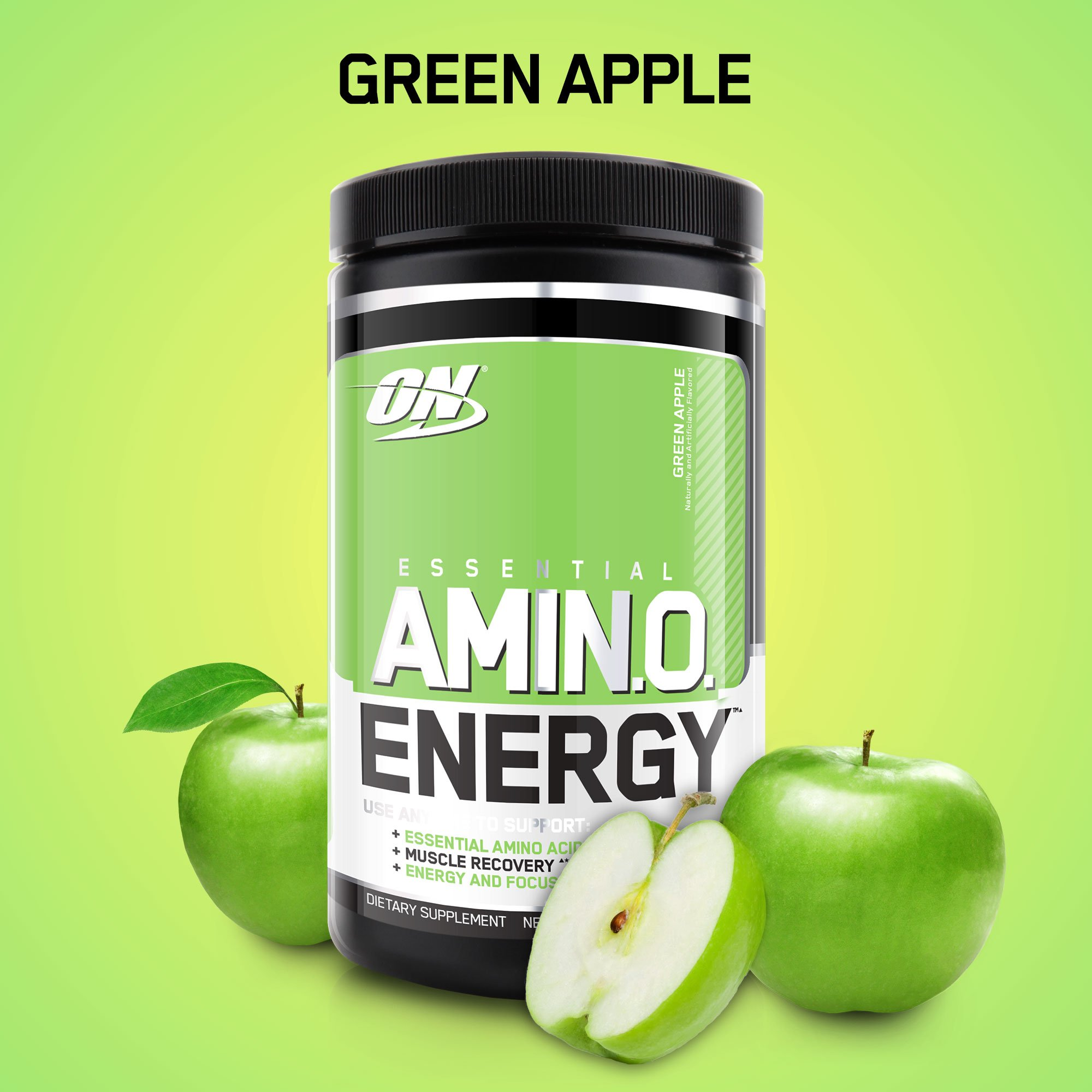 Optimum Nutrition Amino Energy, Green Apple, Preworkout and Essential Amino Acids with Green Tea and Green Coffee Extract, 30 Servings - 9.5 ounces