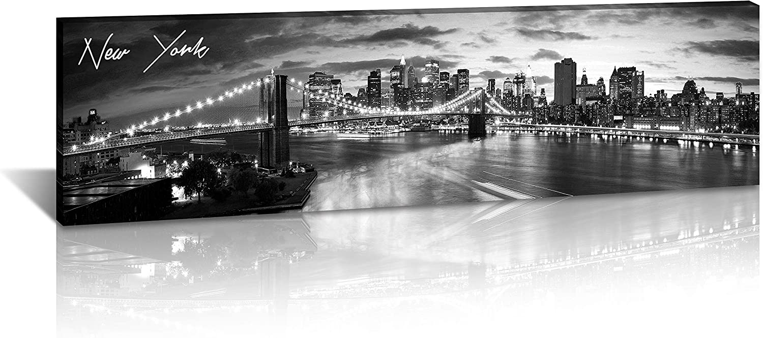 "DJSYLIFE New York Skyline Wall Art - Brooklyn Bridge Night View - Black and White NYC City Pictures Scape Artwork Painting Decoration for Bedroom or Office, Ready to Hang 13.8""x47.3""-New York1"