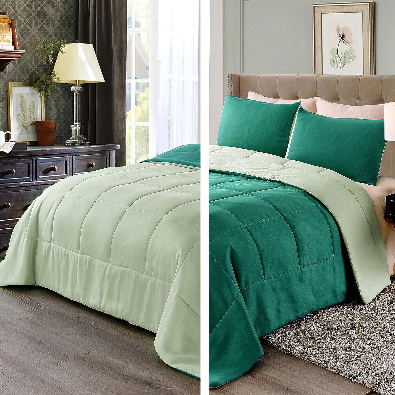Exclusivo Mezcla Lightweight Reversible 3-Piece Comforter Set for All Seasons, Down Alternative Comforter with 2 Pillow Shams, Queen Size, Green