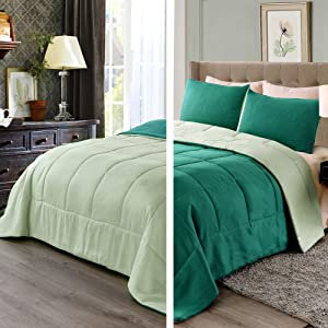Exclusivo Mezcla Lightweight Reversible 3-Piece Comforter Set for All Seasons, Down Alternative Comforter with 2 Pillow Shams, King Size, Forest Green