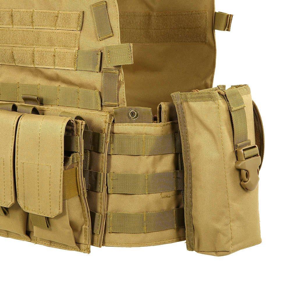 Lixada Outdoor Modulaire Molle Vest Chasse Poitrine Carrier Gilet avec Poche Dhydratation