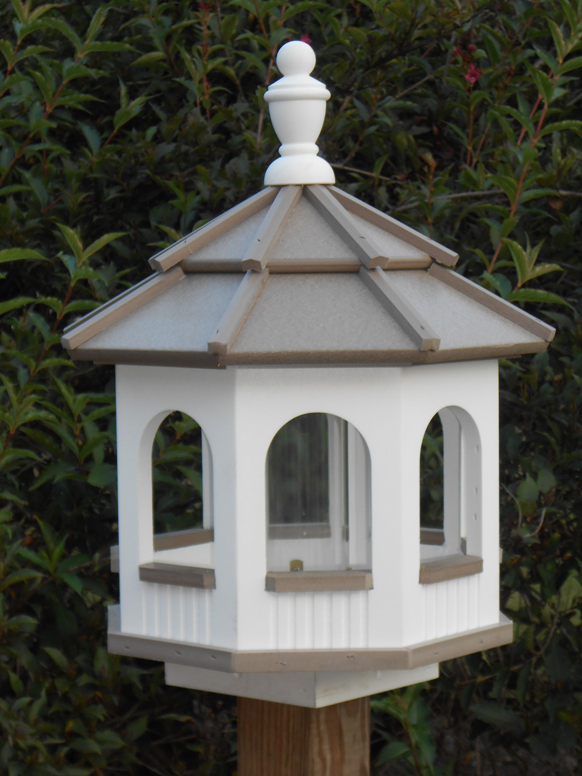 Vinyl Gazebo Bird Feeder Amish Homemade Handmade Handcrafted White & Clay med