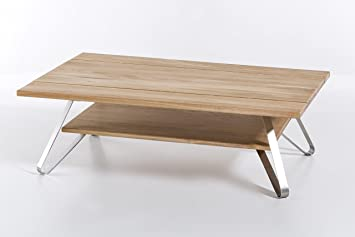 massivholz couchtisch vetus aus wildeiche wohnzimmertisch aus holz mit 3 teiliger tischplatte beistelltisch