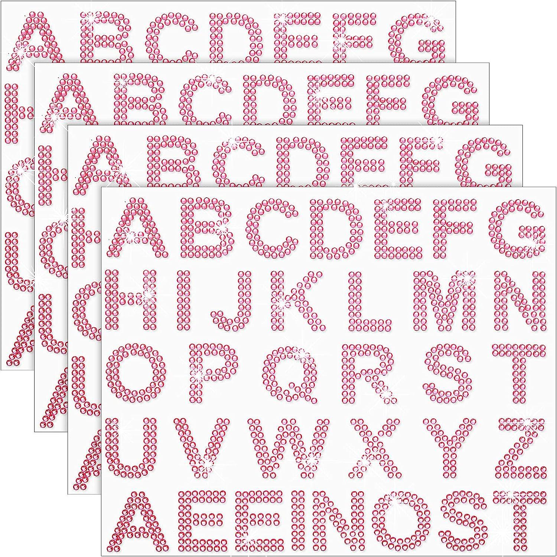 136 Pieces Large Glitter Rhinestone Alphabet Letter Sticker and Crystal Gemstone Border Sticker, 34 Letters Self-Adhesive Sticker Iron-on Rhinestone Letter Sticker for Art Craft Decor (Pink)
