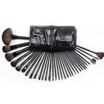 CLE DE TOUS - Set de 32 Brochas Pinceles para Cosmetico Maquillaje Pincel Brocha con Estuche Manta Negra para Fiesta Navidad