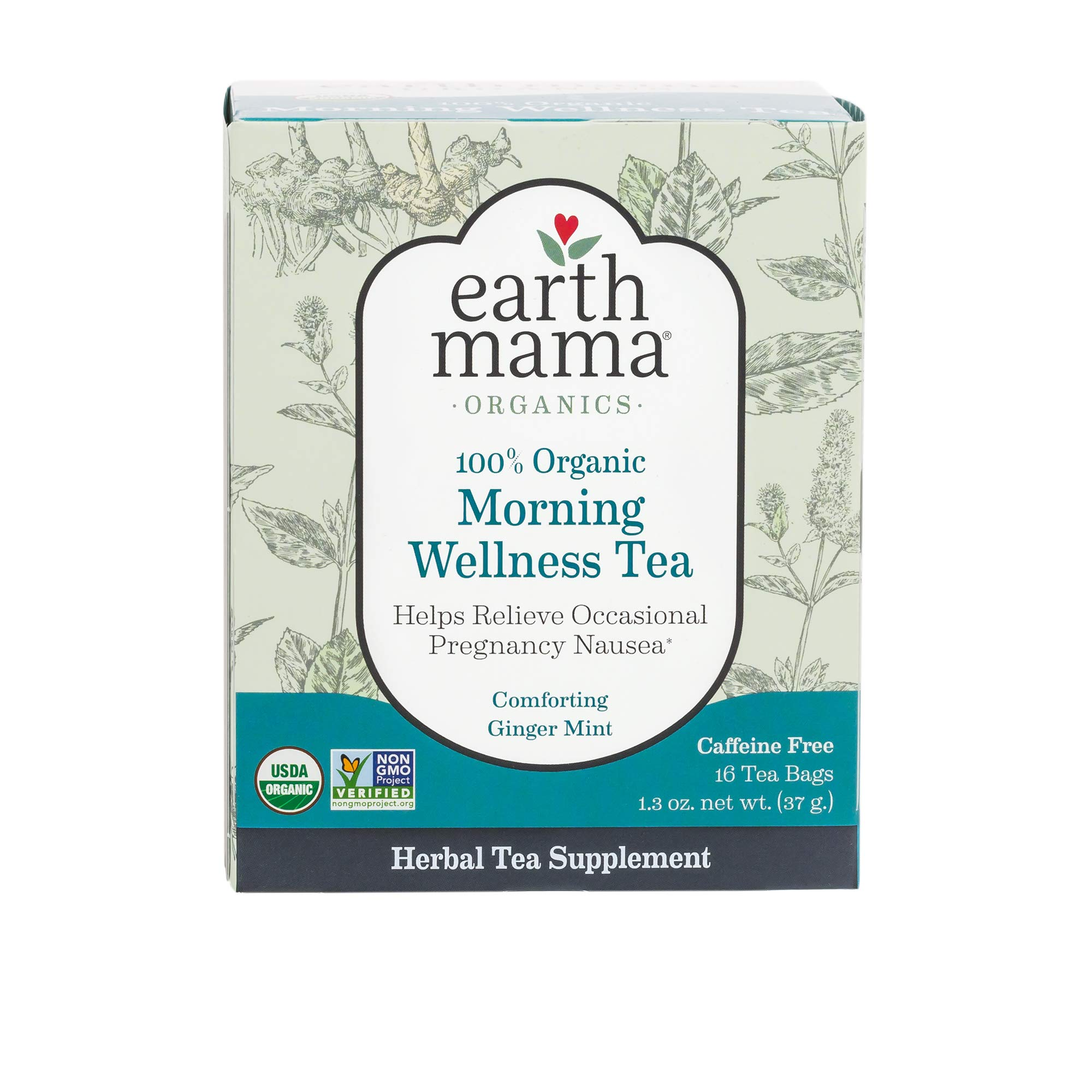 Organic Morning Wellness Tea for Occasional Morning Sickness, 16 Teabags/Box