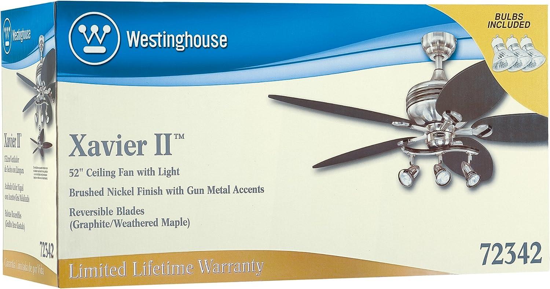 """Brushed Nickel WESTINGHOUSE 7234265-52/"""" Xavier II Ceiling Fan w// Light"""