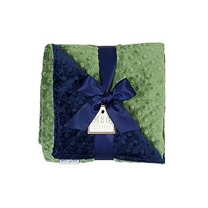 MEG Original Navy Blue & Dark Sage Green Minky Dot Baby Blanket 971