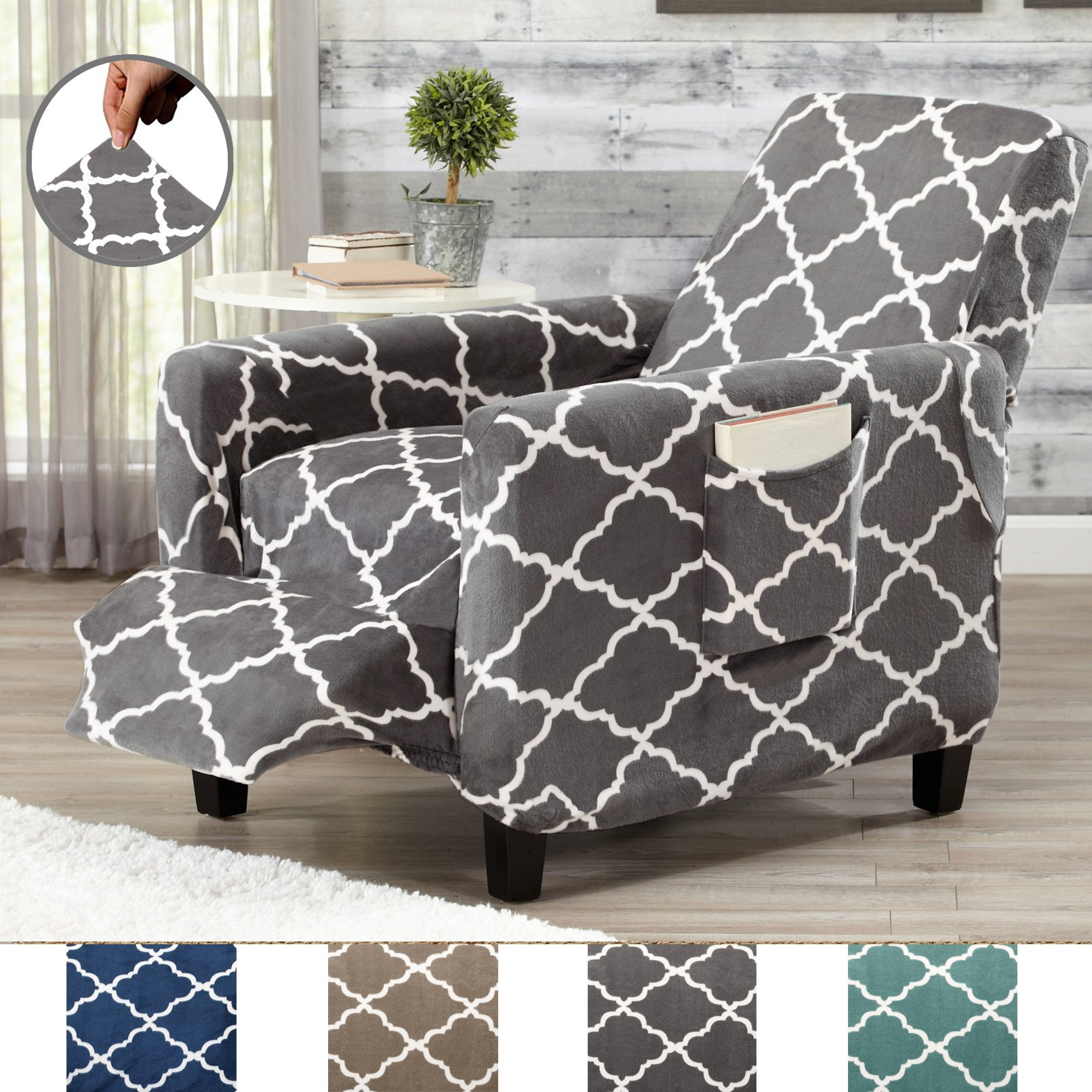 Great Bay Home Modern Velvet Plush Strapless Slipcover. Form Fit Stretch, Stylish Furniture Shield/Protector. Magnolia Collection Strapless Slipcover by Brand. (Recliner, Grey) by Great Bay Home