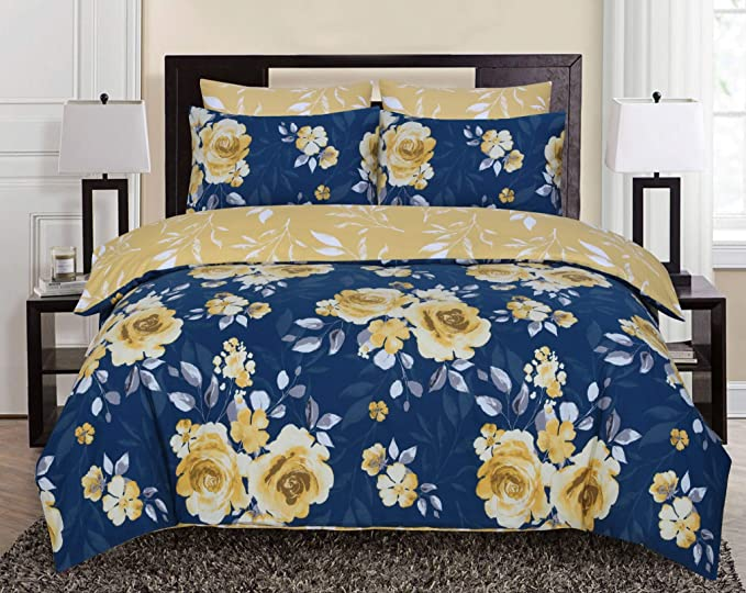 Divine Textiles 100 Pure Cotton Reversible Floral Printed Duvet Quilt Cover Set Roses Navy Mustard Double Amazon Co Uk Kitchen Home