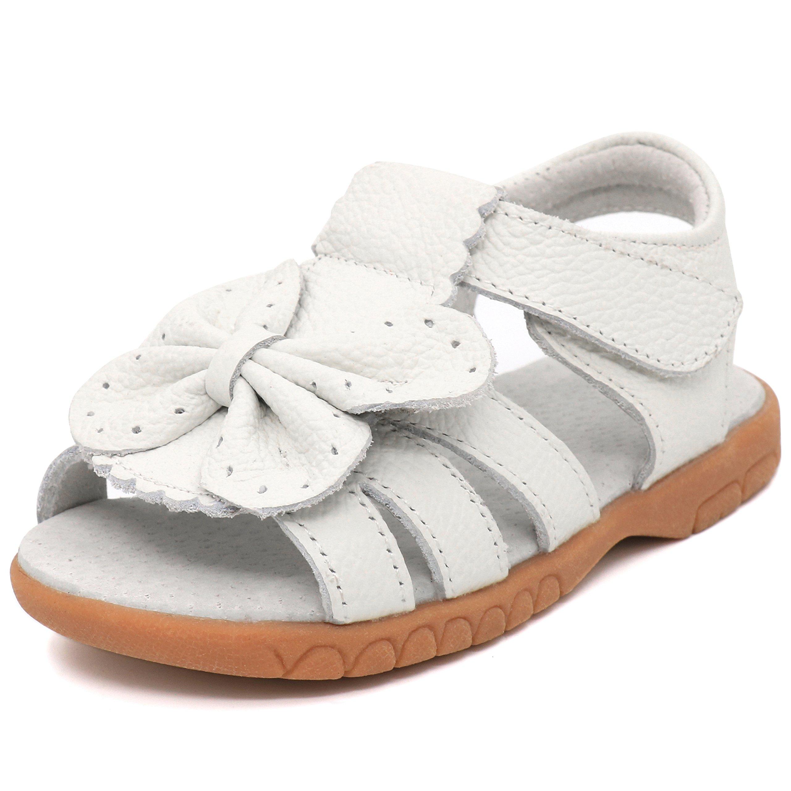 Femizee Toddler Girls Leather Summer Flower Sandals,Whtie Butterfly,1537 CN26