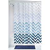 mDesign – Cortina de ducha con estampado de zigzag – Accesorio de baño con medidas perfectas