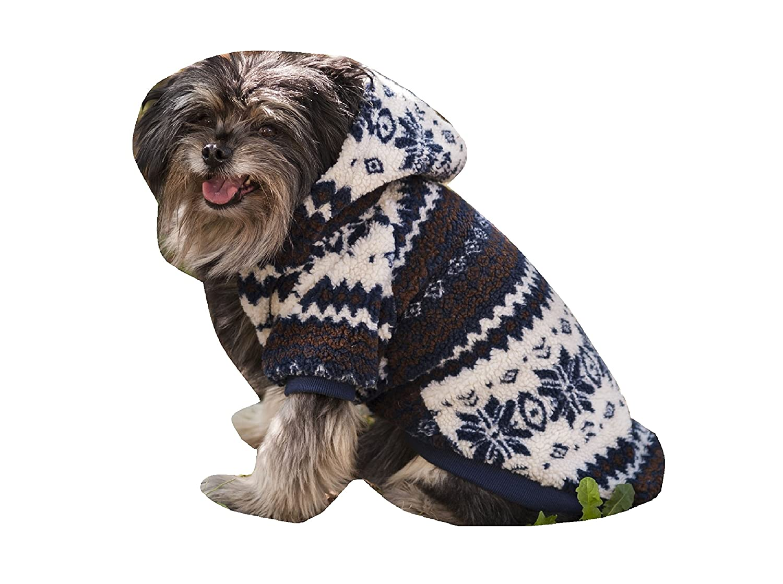 Fashion Pet Sherpa Printed Dog Coat, X-Small, Navy