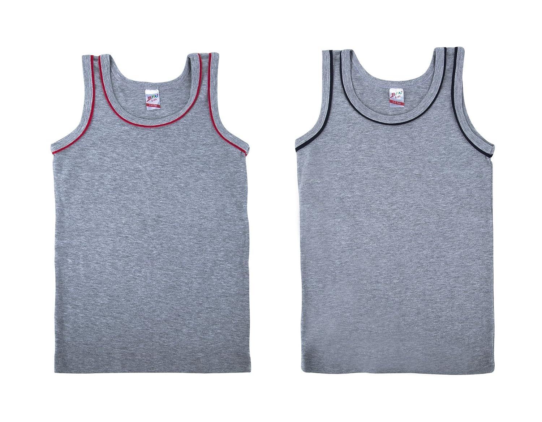 Brix Boys' Tank Grey Cotton Value Pack Tank Top Undershirts 2 Pack.