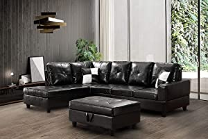 GAOPAN Set for Home 2021 Sectional Faux Leather Tufted Cushions Living Room, 5 Seats Sofa Couch with Reversible Right Chaise Lounge and Storage Ottoman,Obsidian Black