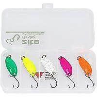 Zite Fishing Kit Di 5 Pezzi Di Esche Per La Pesca Alla Trota Salmerini Persici Con Scatola - Cucchiaino Esche Artificiali Spinning 3,5cm 3g