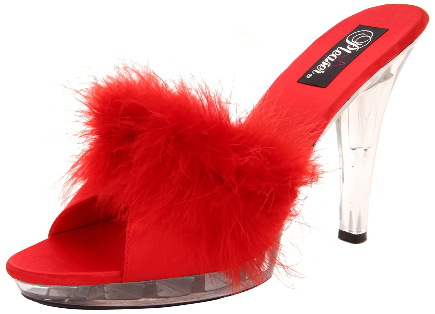 Pleaser LIP101-8/BP/C LIP101-8/BP/C (Red Mules Femmes Rouge (Red Satin-fur Femmes/Clr) c716543 - reprogrammed.space