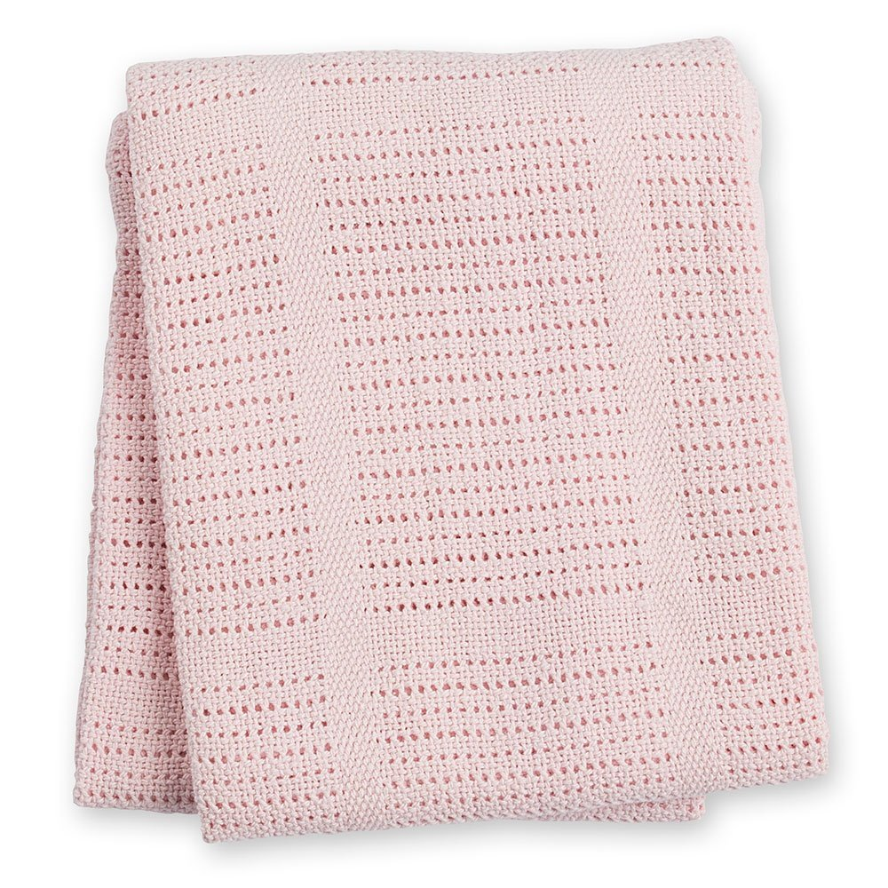lulujo Baby Cellular Baby Blanket, Pink LJ751
