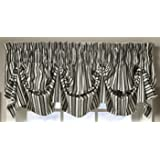 Today's Curtain Gabrielle Cotton 16-Inch Duck Tucked Valance, Black