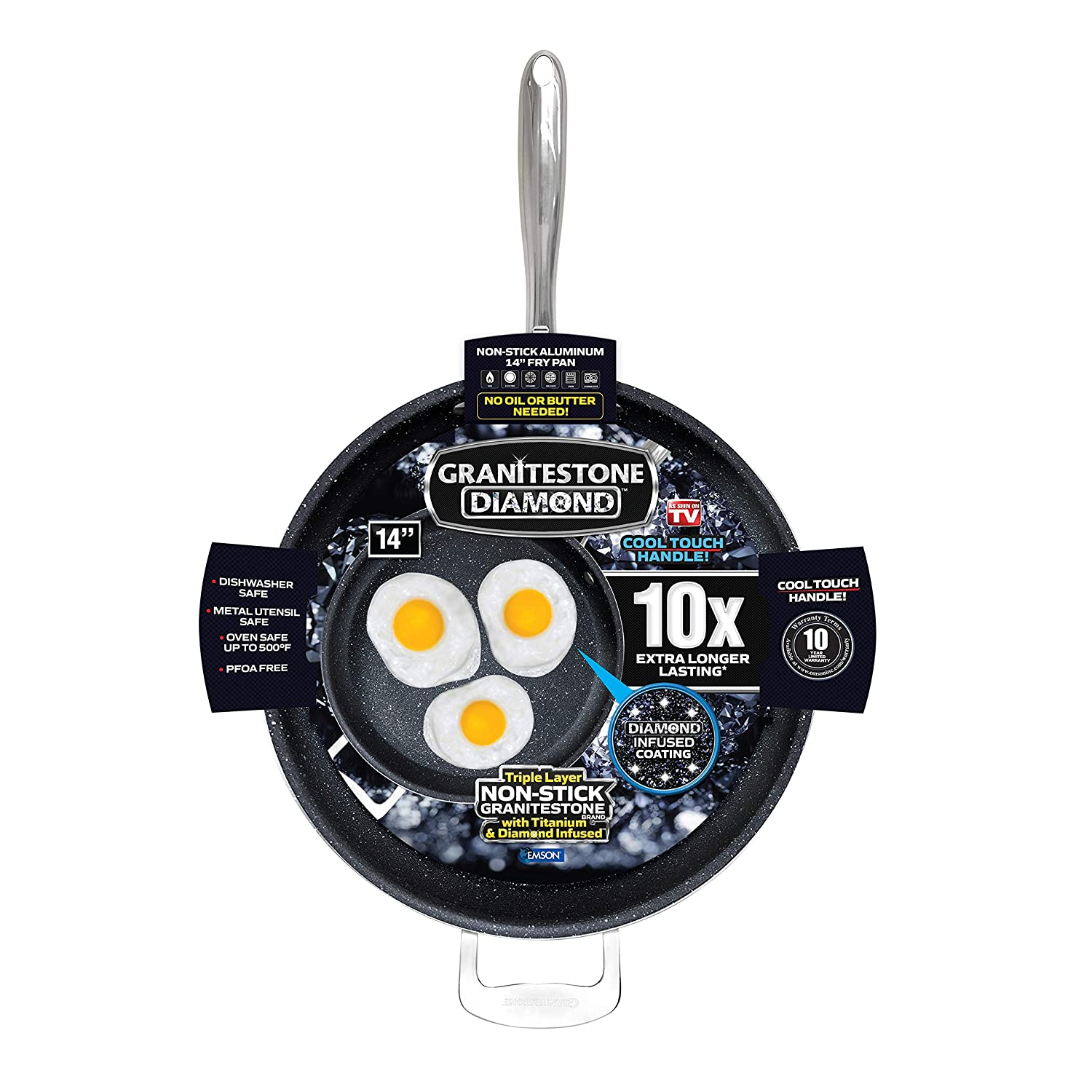 """Granite Stone 14"""" Extra Large Frying Pan Skillet, Triple Coated with Ultra Nonstick Mineral Coating & Heavy Duty Stainless Steel Helper Handle"""